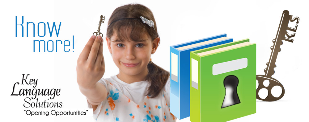 image of girl with key learning french